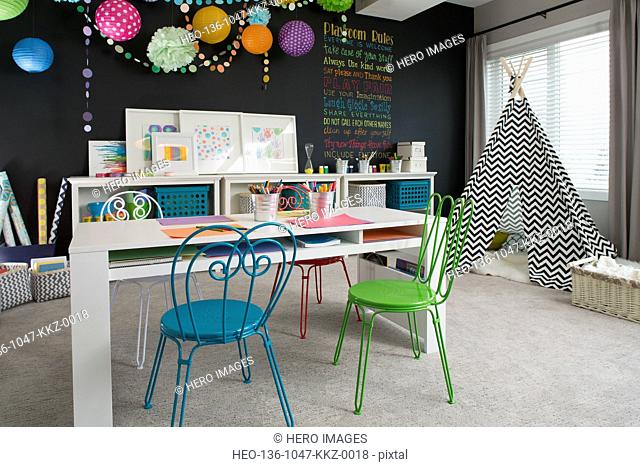 Playroom in contemporary home