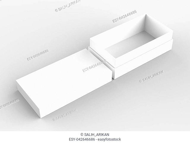 Elegant box mock up isolated on soft gray background. 3D illustrating