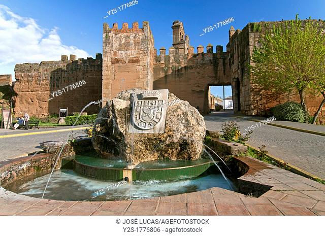 Walls fountain and Door of the Socorro, Niebla, Huelva-province, Spain