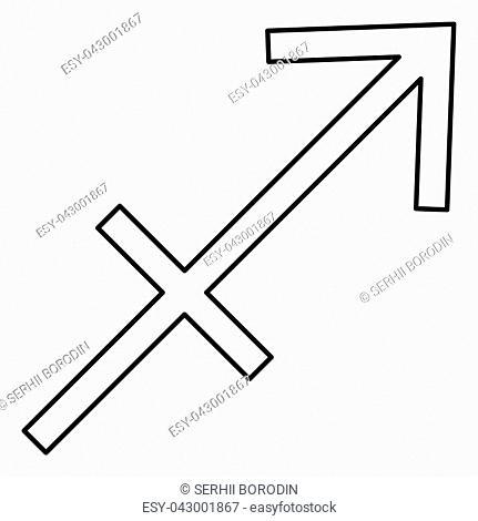 Sagittarius symbol zodiac icon black color vector illustration flat style simple image