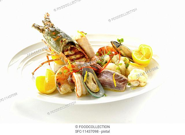 A large platter of seafood
