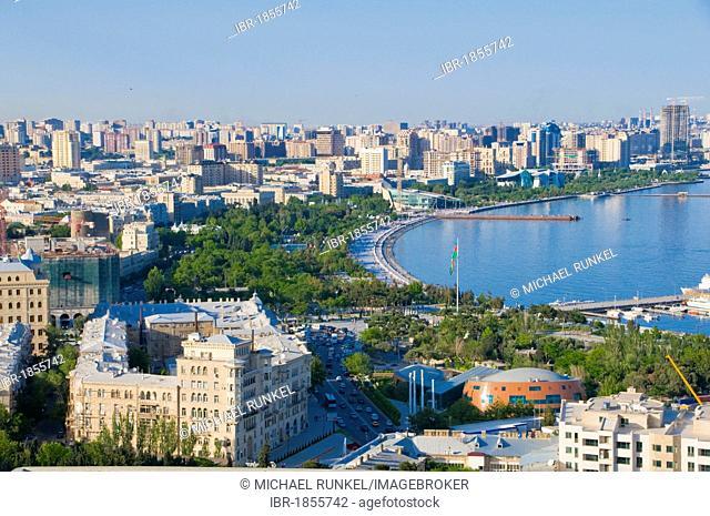 View of the coast of Baku, Baku Bay, Azerbaijan, Middle East