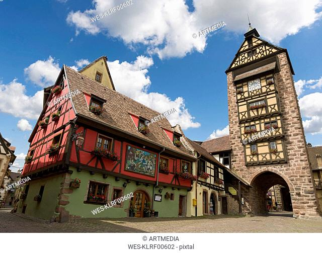 France, Alsace, Ribeauville, Old town, city gate