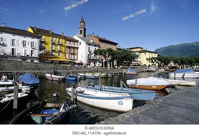 Boats in harbour Ascona Lake Maggiore Ticino Switzerland Lago Maggiore