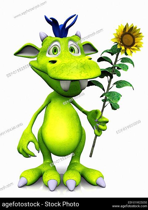 Cute cartoon monster holding a sunflower