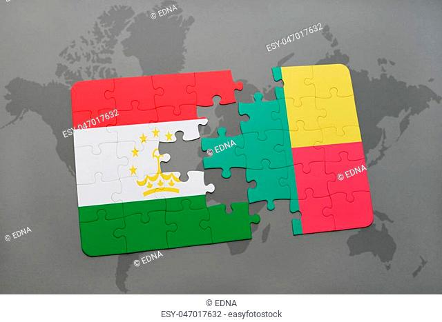 puzzle with the national flag of tajikistan and benin on a world map background. 3D illustration