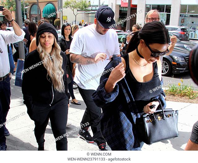 Kim Kardashian, Rob Kardashian, and Blac Chyna leaving Nate n Al's after having lunch together Featuring: Kim Kardashian, Rob Kardashian