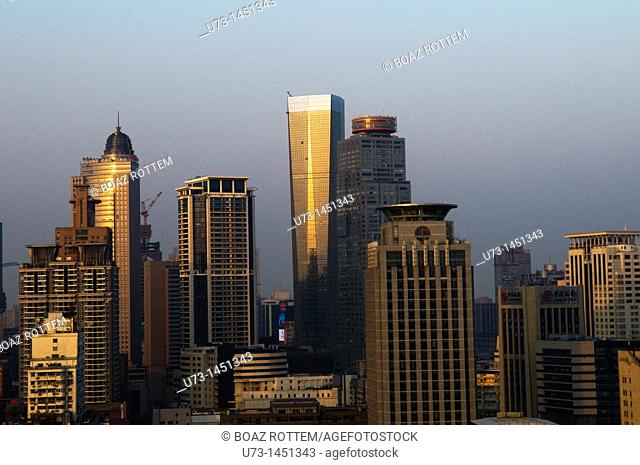 A view of downtown Nanjing during sunset