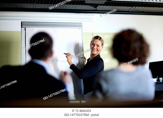 Woman standing next to whiteboard