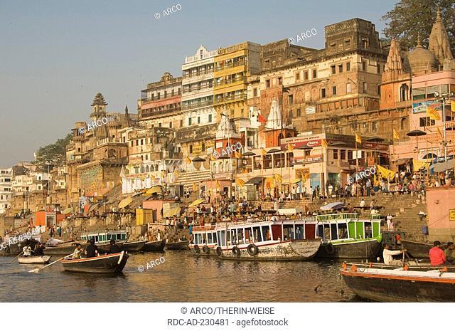 Ghats along river Ganges, Varanasi, Benares, Uttar Pradesh, India