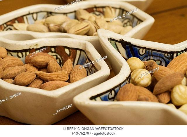 old Turkish ceramic plates and nuts
