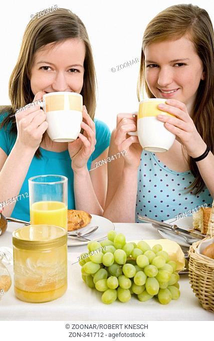 Two women having breakfast