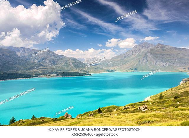 Lac du Mont Cenis in the Maurienne valley, Savoie, Rhône-Alpes, France