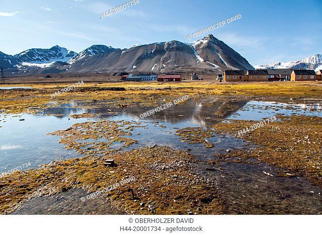 Spitsbergen, Svalbard, Kongsfjord, Ny Alesund, village