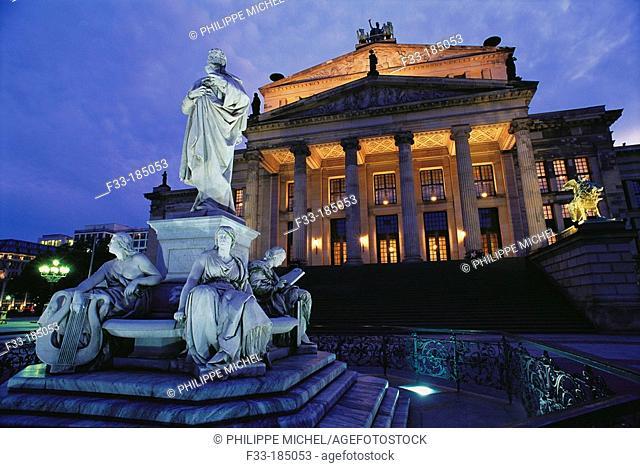 Schiller statue and Theatre. Gendarmenmarkt. Berlin. Germany