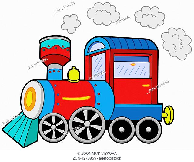 Steam locomotive on white background - isolated illustration