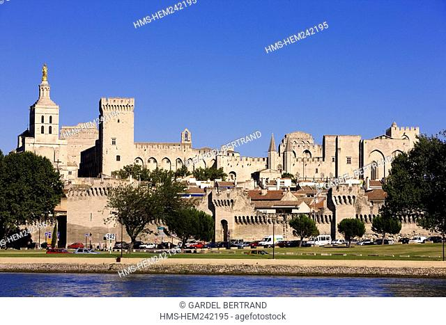 France, Vaucluse, Avignon, the Palais des Papes and the ramparts listed as World Heritage by UNESCO