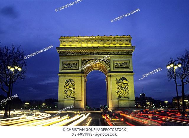 Arc de Triomphe, place de l'Etoile ou Charles de Gaulle,Avenue des Champs Elysee,Paris,Ile de France,France