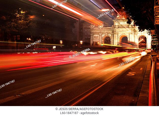Red lights in Puerta de Alcalá, Madrid, Spain