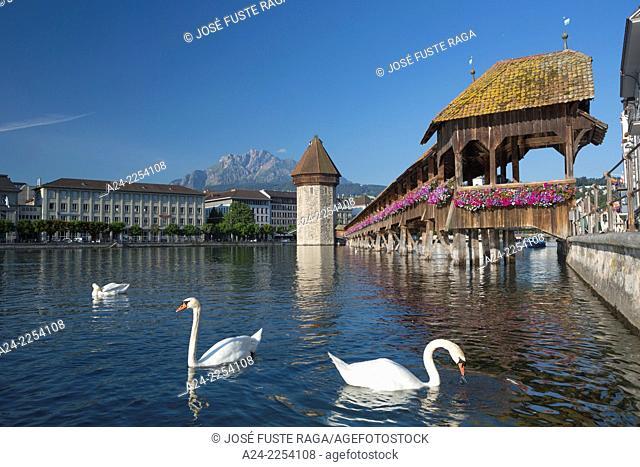 Switzerland, Lucerne City , Chapel Bridge (W.H.)