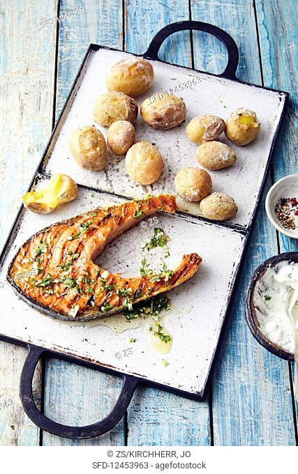 Salmon steaks with dill gremolata and papas arrugadas