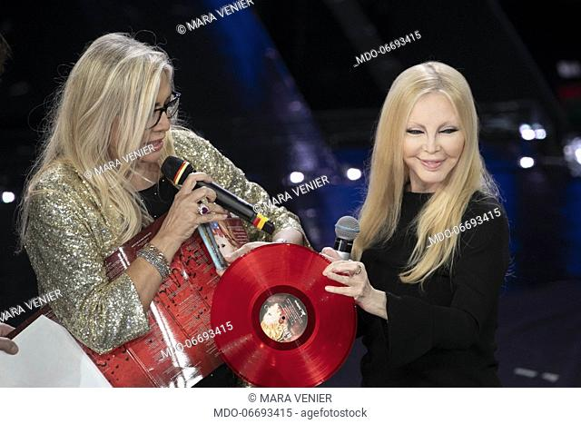 Italian singer Patty Pravo and italian tv host Mara Venier during the episode of Domenica In dedicated to 69th Sanremo Music Festival
