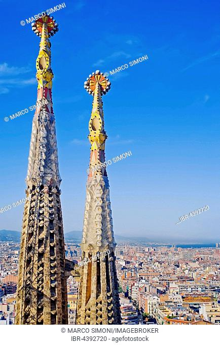 Sagrada Familia towers, Barcelona, Catalonia, Spain