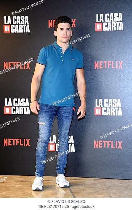 Jaime Lorente during photocall for the presentation of Spanish TV show 'La Casa de Papel' in Milan, Italy, 17 July 2019
