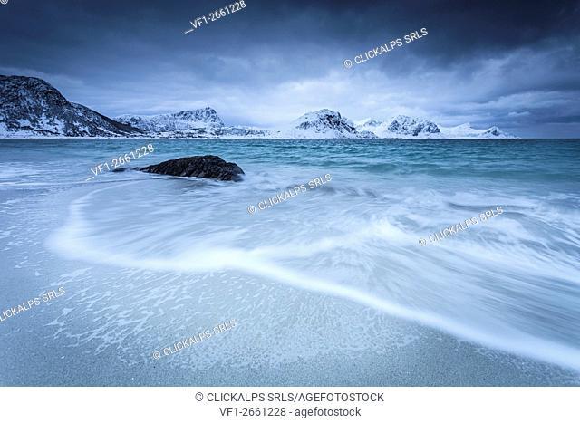 Haukland beach, Lofoten Island, Norway