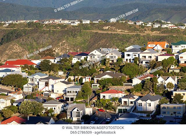 New Zealand, North Island, Wellington, elevated view of suburbs from Mt. Victoria