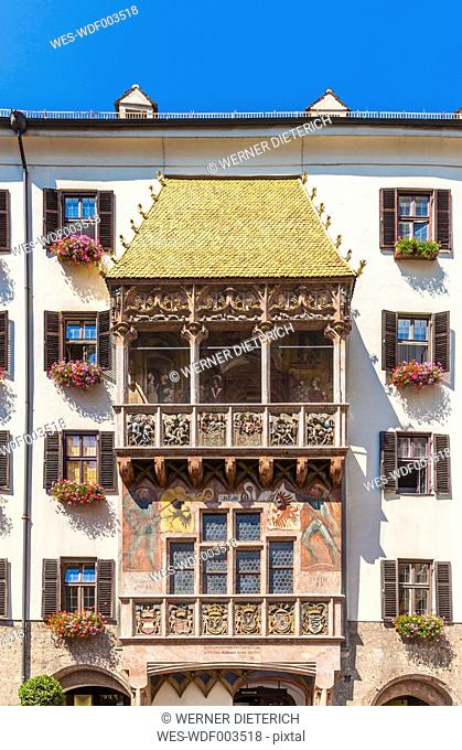 Austria, Tyrol, Innsbruck, View of a building with golden roof, alcove balcony