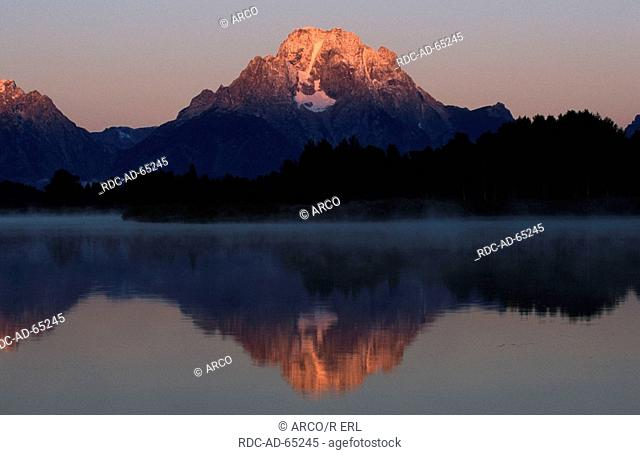 Mount Moran at dawn view from Oxbow Bend Turnout Grand Teton national park Wyoming USA