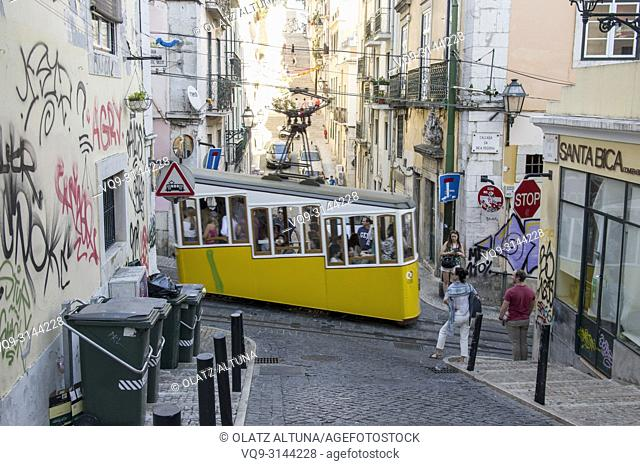 Bica funicular crossing the street, Chiado district, Lisbon, Portugal