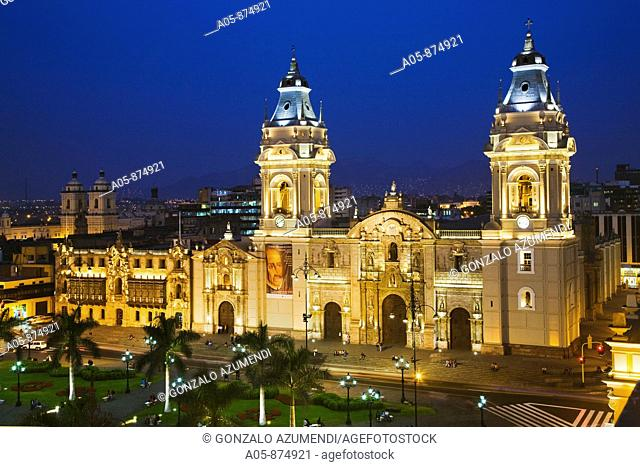 Cathedral in Plaza de Armas, Lima, Peru