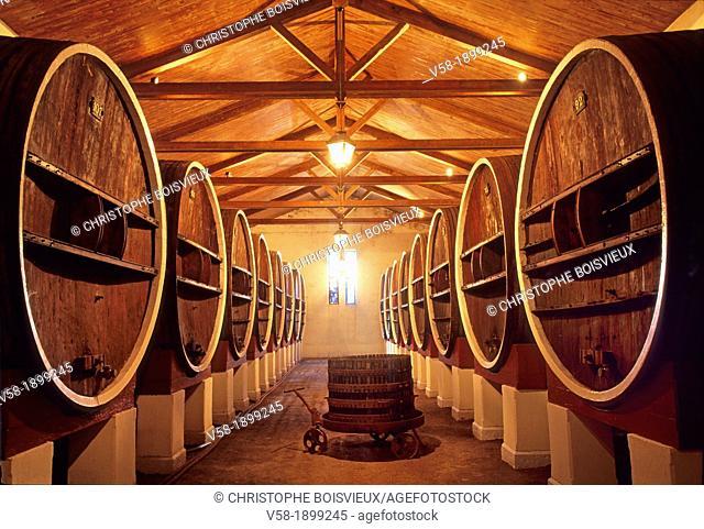 France, Aude, Jouarres, Cave Coopérative de Vieillissement Wine cellar