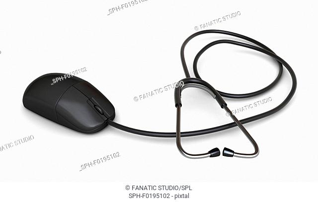 Illustration of computer mouse attached to a stethoscope