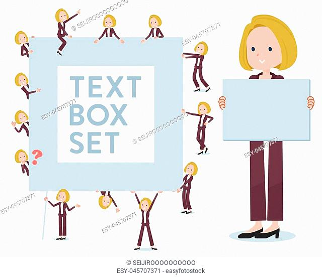 A set of women with a message board.Since each is divided, you can move it freely.It's vector art so it's easy to edit