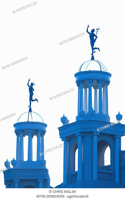Statue Hermes Place de Catalunya blue