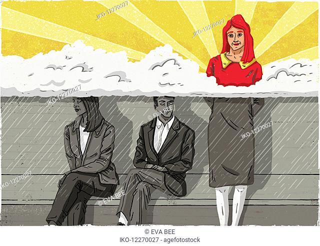 Contrast between woman standing in the sun above others below dark rain cloud