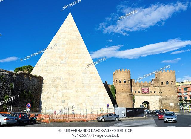 Pyramid of Cestius and Porta San Paolo, one of the southern gates in the 3rd-century Aurelian Walls of Rome, Italy