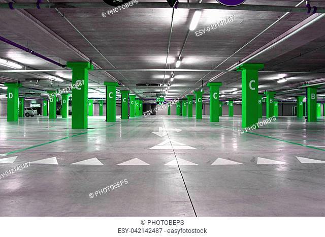 an empty big underground parking