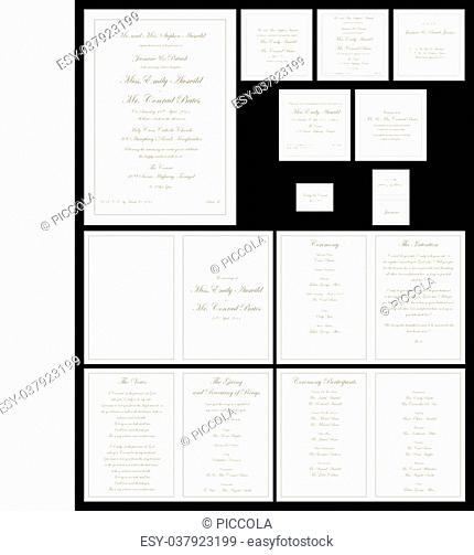 Gold formal Wedding stationary set in vector format