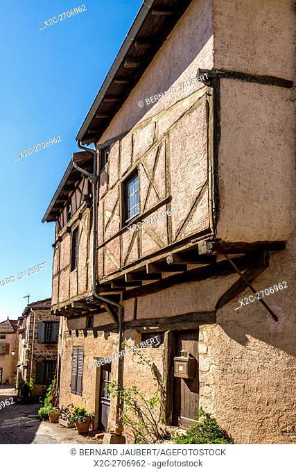 Roannais region. Half-timbered houses, Saint-Haon-le-Châtel medieval village, Loire, France