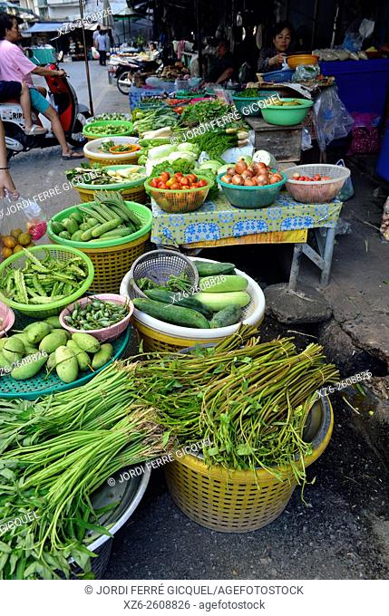 Vegetables stall in a market, Lopburi, Thailand, Asia
