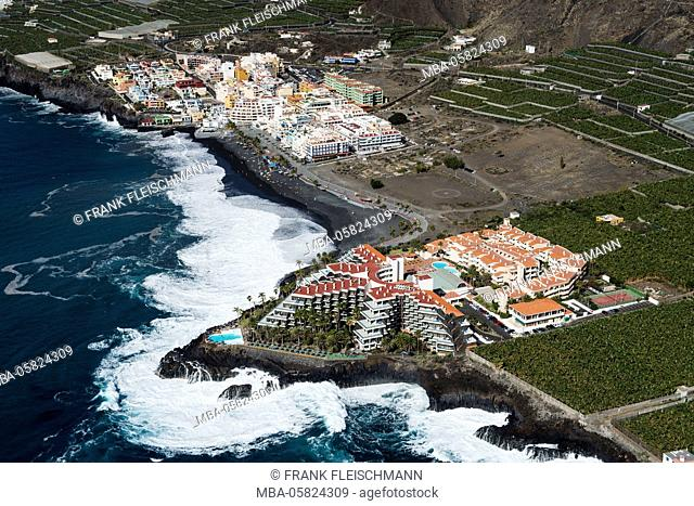 Puerto Naos with volcano beach and seafront, La Palma, aerial picture, Canary islands, Spain