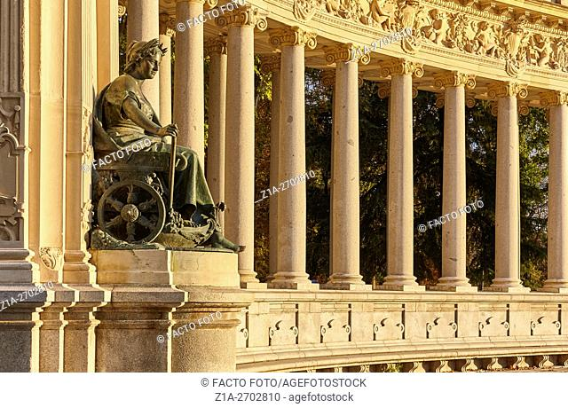Agriculture, statue by Jose Alcoverro, at the Monument to Alfonso XII, located at The Buen Retiro Park. Madrid. Spain