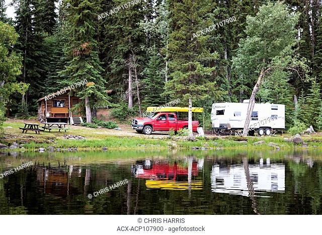 Canada, British Columbia, Chilcotin region, Nimpo Lake, RV camping, vacation, holiday, canoe, campsite, log cabin