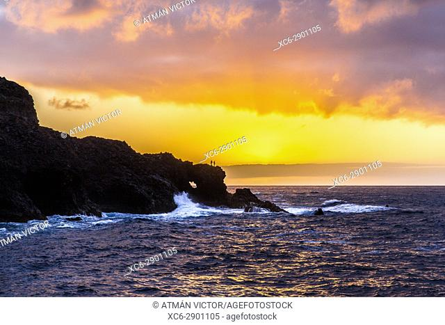 Sunset at Jover beach in Tenerife island