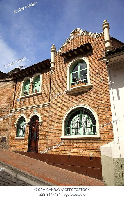 View to a colonial building at the historic center, Bogota, Cundinamarca, Colombia, South America
