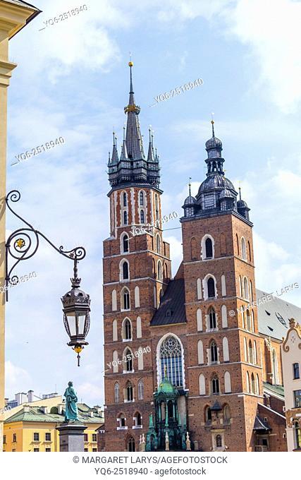 Mariacki church at the Main Square in Krakow, Poland, Europe